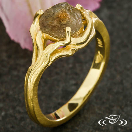 Tree Branch Ring With Rough Sapphire