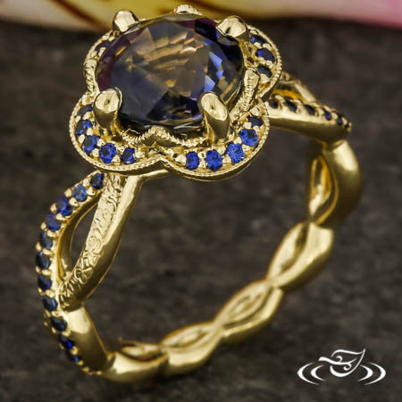 Floral Twist Sapphire Engagement Ring