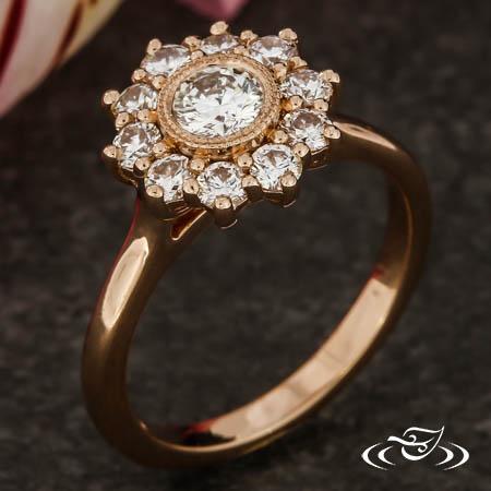 Milgrain Halo Engagement Ring