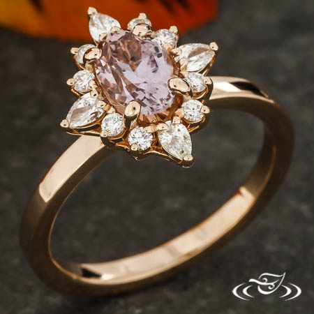 Pink Sapphire Detailed Halo