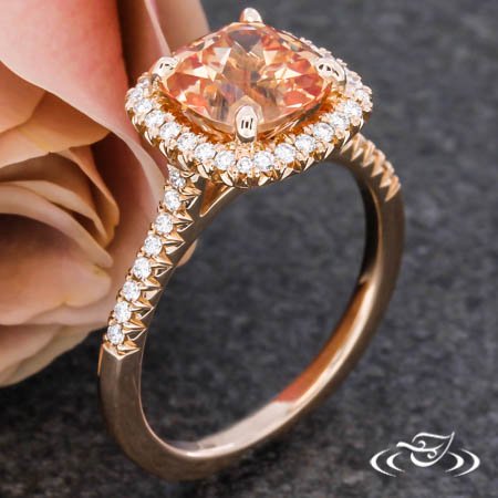 14Krg Halo Ring With Lab Sapphire Center
