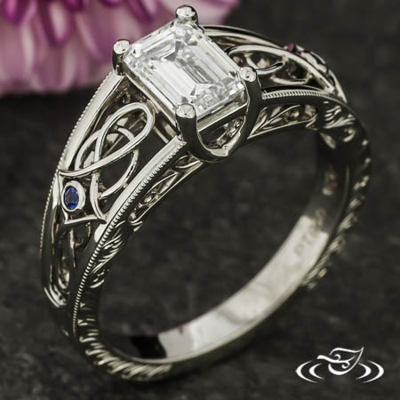 Emerald Diamond And Celtic Filigree Engagement Ring
