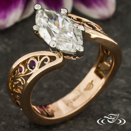 Filigree & Leaf Engagement Ring
