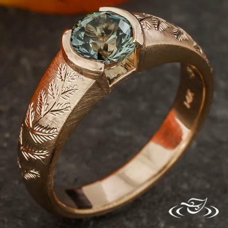Fern Engraved Engagement Ring