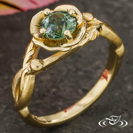 Golden Sapphire Poppy Ring
