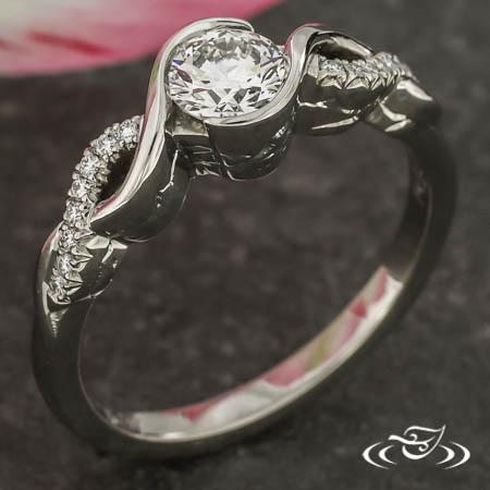 Twist Wrap Set Diamond & Mountain-Engraved Ring