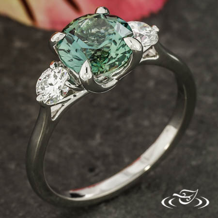 3-Stone Montana Sapphire & Diamond Ring