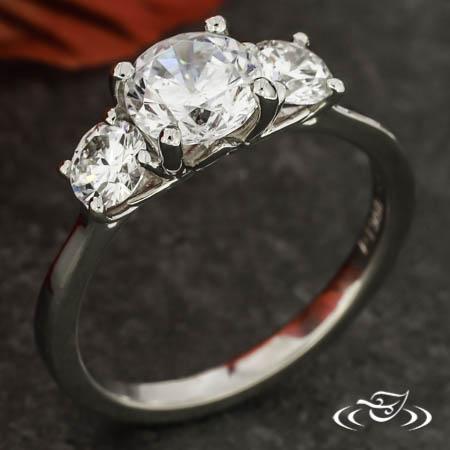Lotus Three Stone Ring