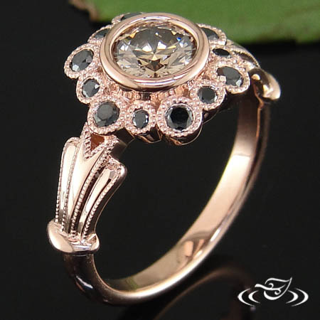 Bezel Styled Floral Engagement Ring