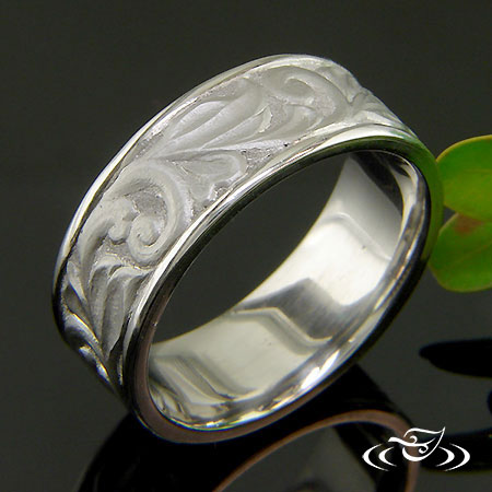 PALLADIUM HAND ENGRAVED RELIEF SCROLL BAND