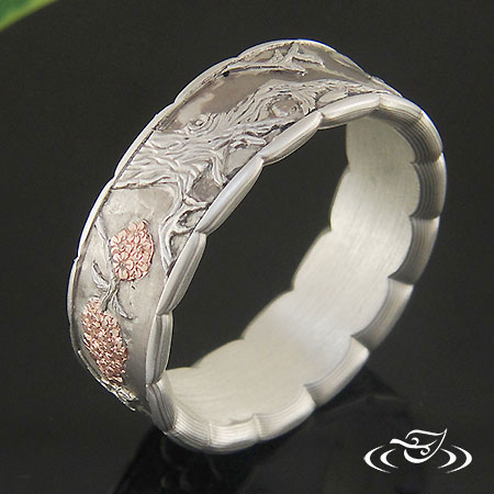 Relief Engraved Mokume And 14K Rose Gold Koi Band