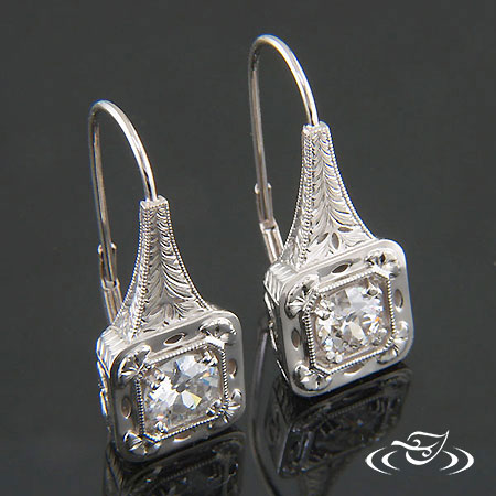 CUSTOM VINTAGE INSPIRED 14K WHITE GOLD EARRINGS