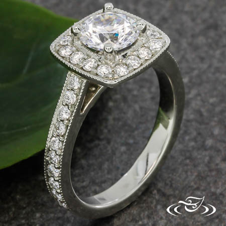 14KT WHITE GOLD CUSHION HALO ENGAGEMENT RING WITH .65CTW ACCENT DIAMONDS AND ~1CT CZ CENTER
