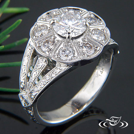 HALO FLOWER INSPIRED ENGAGEMENT RING