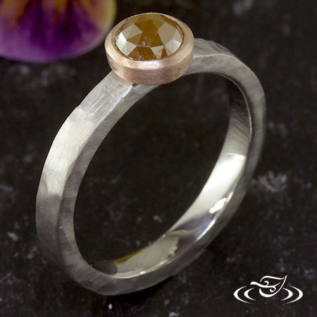 FULL BEZEL ROSE CUT DIAMOND RING WITH RUSTIC FINISH