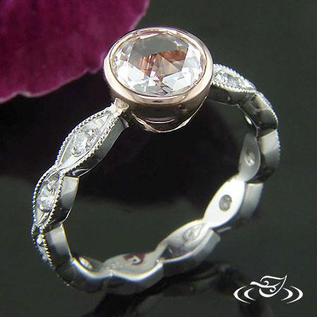 14K ROSE GOLD AND PLATINUM DIAMOND RING