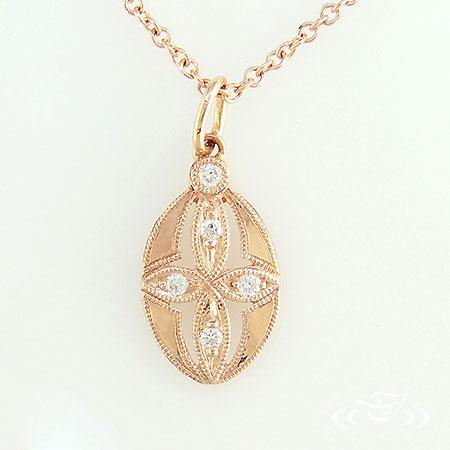 14K ROSE GOLD ANTIQUE DIAMOND PENDANT