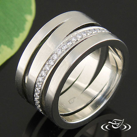 ABSTRACT CONTEMPORARY WEDDING BAND