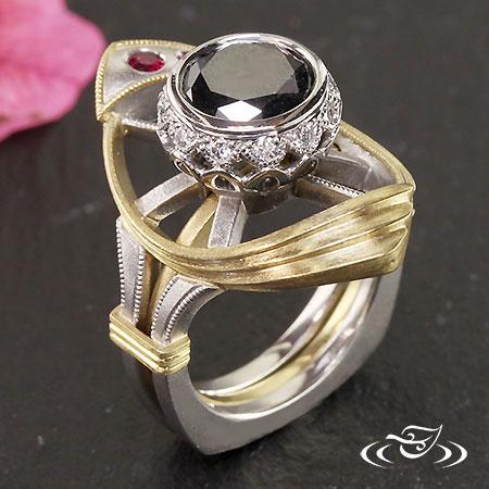 Two Tone Black Diamond Engagement Ring