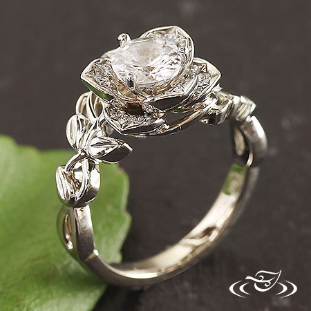 White Gold Lotus Floral Ring