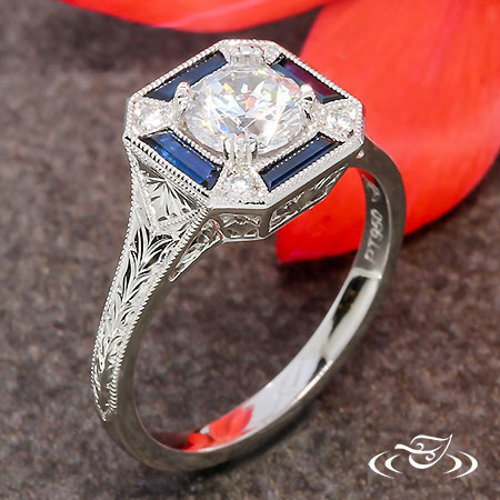 ART DECO VINTAGE INSPIRED ENGAGEMENT RING