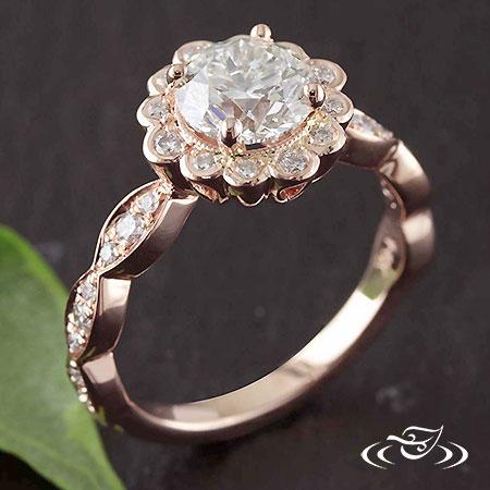 CUSTOM 14K ROSE GOLD DIAMOND HALO MOUNTING