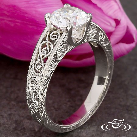 PALLADIUM FOUR PRONG ENGAGEMENT WITH FILIGREE AND ENGRAVING